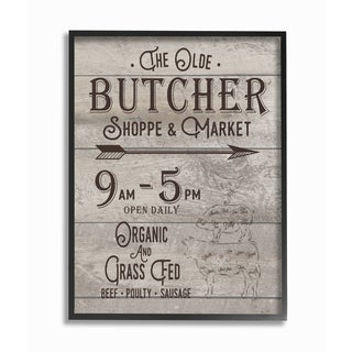 The Old Butcher Shop Vintage Sign Framed Giclee Texturized Art - Black/White