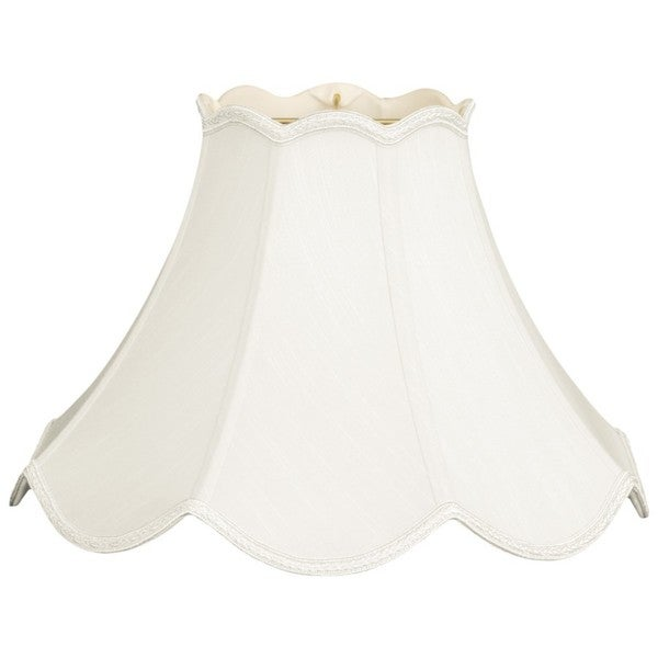 Royal Designs Scalloped Bell Designer Lamp Shade, White, 7.5 x 18 x 12