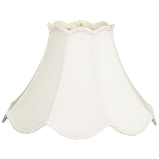 Royal Designs White Silk Scalloped Bell Lampshade