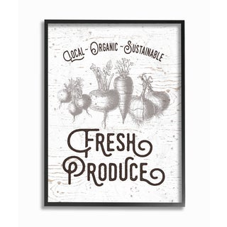 Fresh Local Produce Typography Framed Giclee Texturized Art