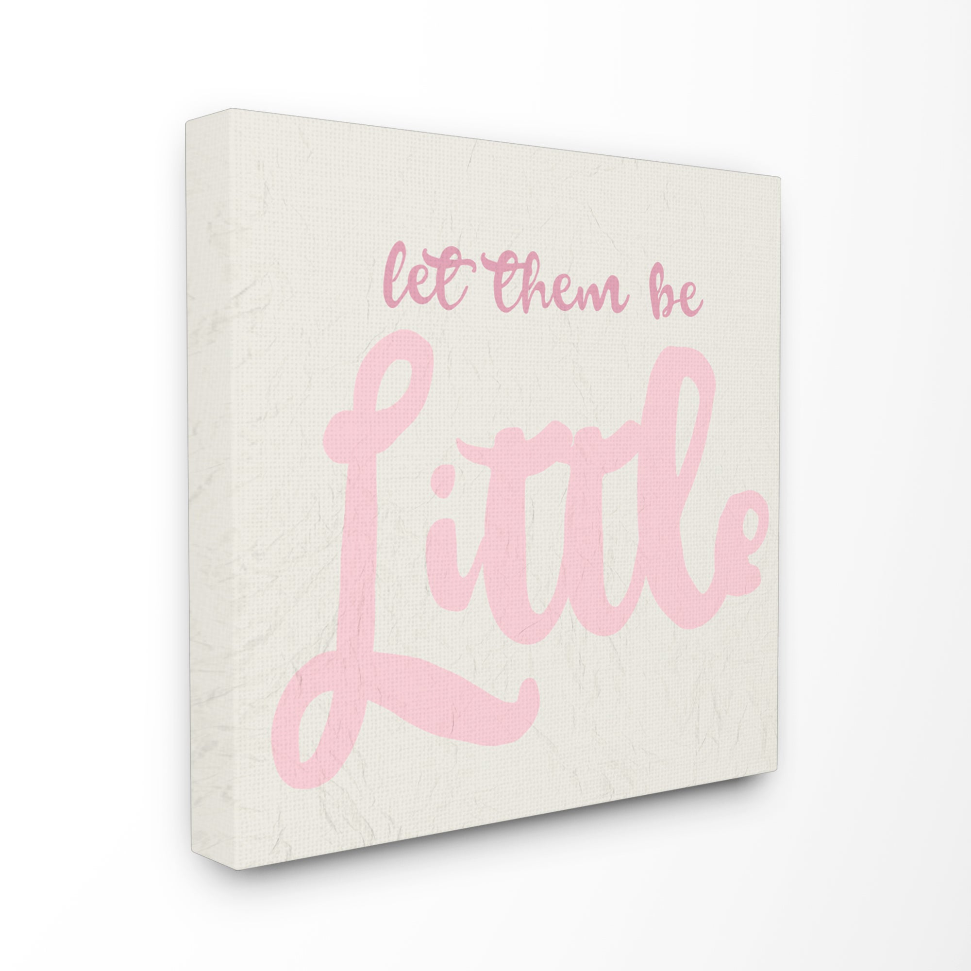 Details about Let Them Be Little Pink Cursive Typography Stretched Canvas