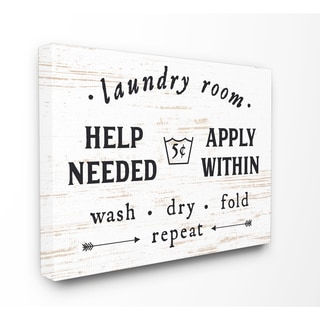 Laundry Room Help Needed Apply Within Stretched Canvas Wall Art - Black/White