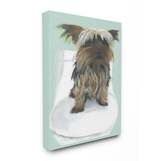 Yorkie In The Bathroom Illustration Stretched Canvas Wall Art - Blue/Brown