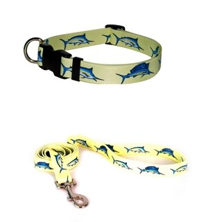 Yellow Dog Design Billfish Yellow Standard Collar & Lead Set