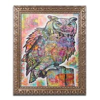 Dean Russo 'Owl Perch' Ornate Framed Art