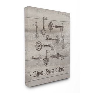 Home Sweet Home Vintage Keys Stretched Canvas Wall Art - Black/White