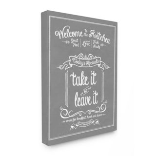 Welcome To the Kitchen Chalkboard Vintage Sign Stretched Canvas Wall Art - Grey