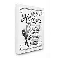 Life Is Like A Kitchen Vintage Typography Stretched Canvas Wall Art