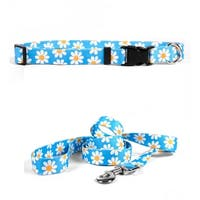 Yellow Dog Design Blue Daisy Standard Collar & Lead Set