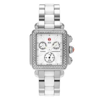 Michele Women's 'Deco' MWW06A000716 Stainless Steel 3/5 CT TDW Diamond Chronograph Dial Bracelet Watch (H-I, I1-I2)