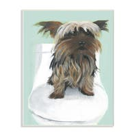 Yorkie In The Bathroom Illustration Wall Plaque Art