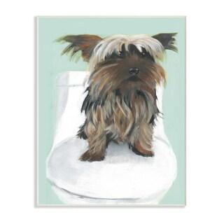 Yorkie In The Bathroom Illustration Wall Plaque Art