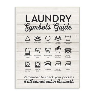 Laundry Symbols Guide Typography Wall Plaque Art