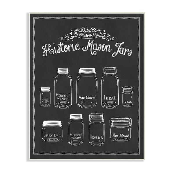 Historic Mason Jars Vintage Typography Sign Wall Plaque Art
