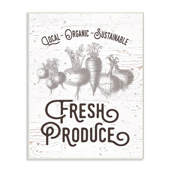 Fresh Local Produce Typography Wall Plaque Art