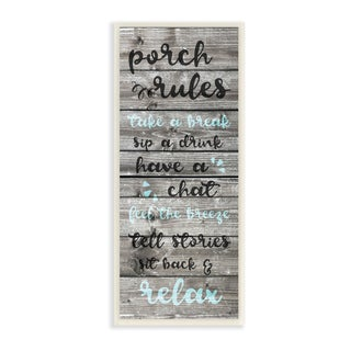 Porch Rules Rustic Blue Sit Back and Relax Wall Plaque Art