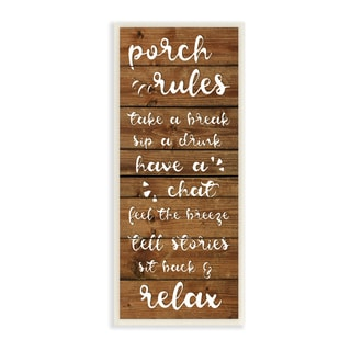 Porch Rules Rustic Neutrals Sit Back and Relax Wall Plaque Art