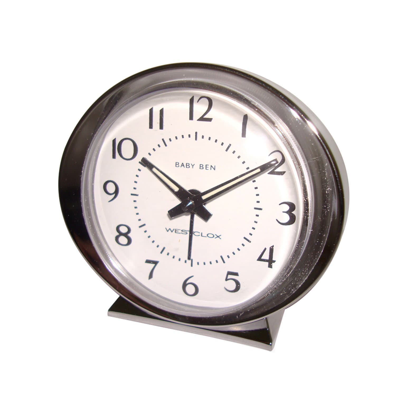 Westclox Baby Ben Table Clock, Silver (Metal)