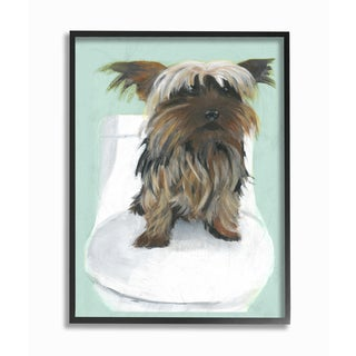 Yorkie In The Bathroom Illustration Framed Giclee Texturized Art