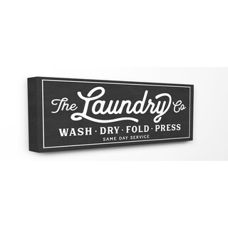 Stupell Vintage Laundry Sign Cursive Typography Stretched Canvas Wall Art