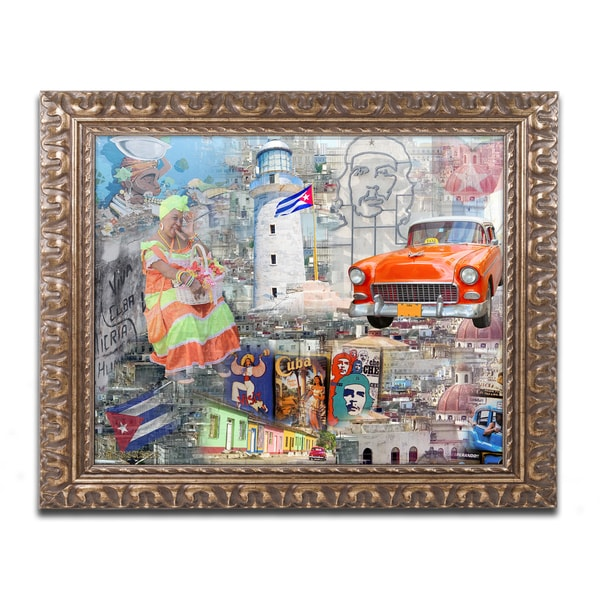 Alberto Lopez 'Red Taxi' Ornate Framed Art