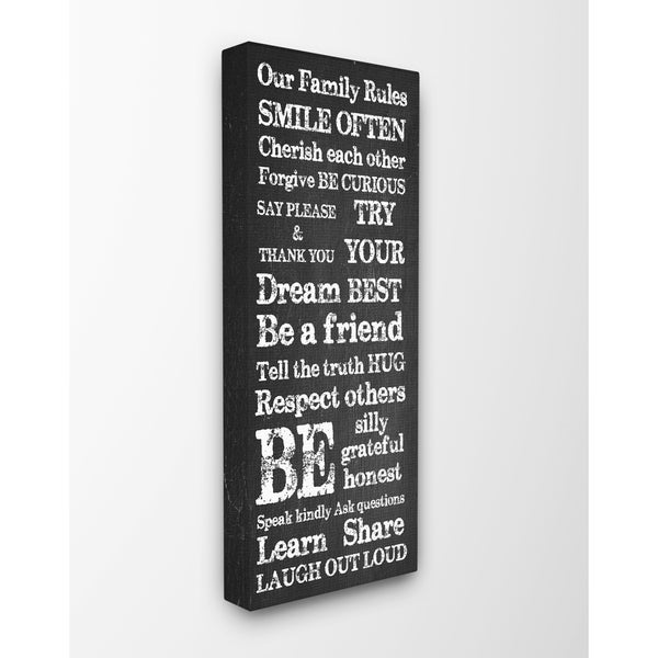 Stupell 'Our Family Rules' Canvas Wall Art - 10 x 24