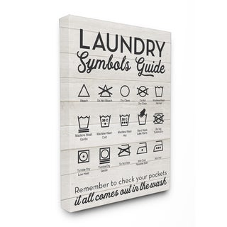 Stupell Laundry Symbols Guide Typography Stretched Canvas Wall Art - 16 x 20