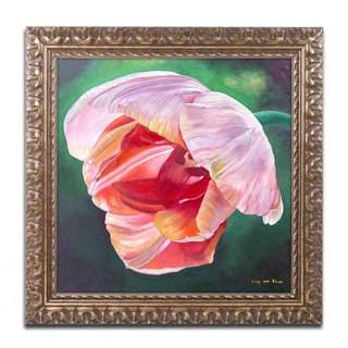 Lily van Bienen 'Lit Tulip 2' Ornate Framed Art