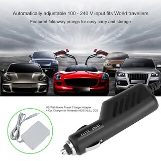 US Wall Home Travel Charger Adapter + Car Charger for Nintendo NDSi XL/LL 3DS