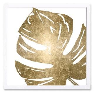 OliverGal 'Tropical Leaves Square I Gold Metallic' Metallic Art