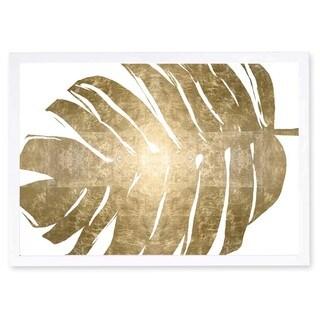 OliverGal 'Tropical Leaves II Gold Metallic' Metallic Art