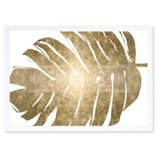 OliverGal 'Tropical Leaves II Gold Metallic' Metallic Art