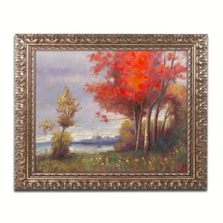 Daniel Moises 'Landscape with Red Trees' Ornate Framed Art