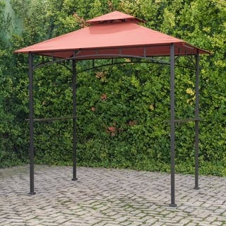 Sunjoy Soft Top Grill Gazebo with Terra Cotta Canopy and LED Lights, Outdoor Patio BBQ Shelter, 8' X 5'