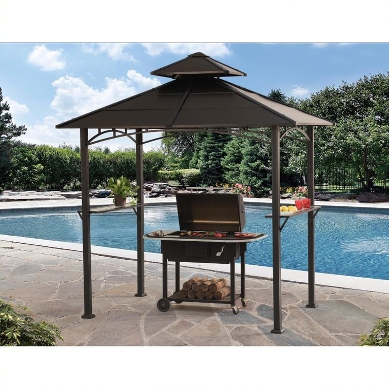 SunJoy 8ft by 5ft Harper LED Grill Gazebo, Black (Steel) ...