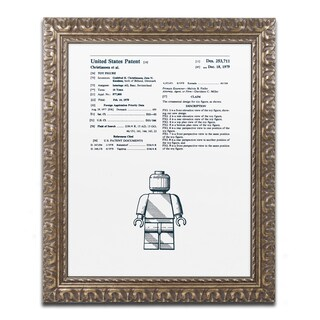Claire Doherty 'Lego Man Patent 1979 White' Ornate Framed Art