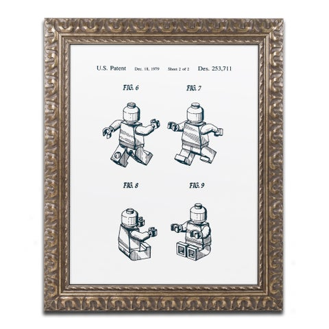 Claire Doherty 'Lego Man Patent 1979 Page 2 White' Ornate Framed Art