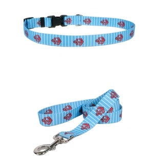 Yellow Dog Design Anchors on Blue Stripes Standard Collar & Lead Set