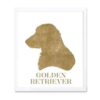 OliverGal 'Golden Retriever 2' Metallic Art