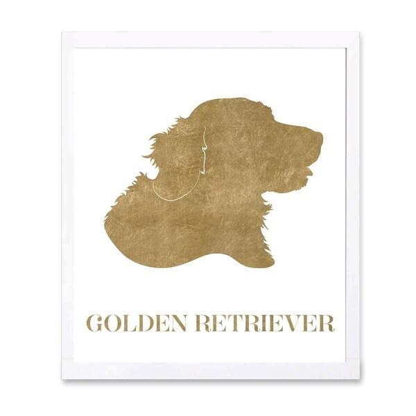 OliverGal 'Golden Retriever' Metallic Art