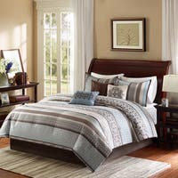 Madison Park Harvard 7-piece King Size Comforter Set in Blue/ Brown (As Is Item)