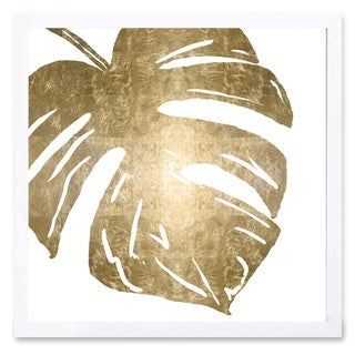 OliverGal 'Tropical Leaves Square II Gold Metallic' Metallic Art