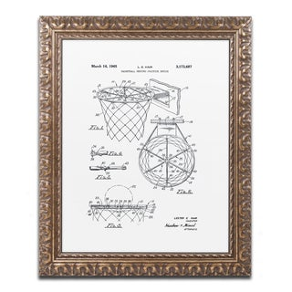 Claire Doherty 'Basketball Hoop Patent 1965 White' Ornate Framed Art