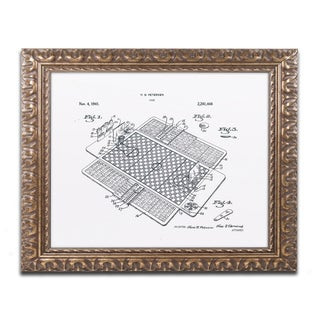 Claire Doherty 'Basketball Court Game Patent White' Ornate Framed Art