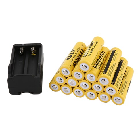 18650 Battery 3.7V 9800mAh Rechargeable Lithium Battery With Battery Charger (Pack of 16)