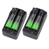 5800mah 18650 Battery 3.7V Rechargeable Li-Ion & 2PCS Dual Smart Charger (Box of 4)