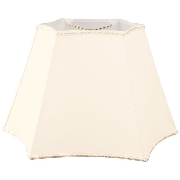 Royal Designs Rectangle Curved Inverted Corner Designer Lamp Shade, Eggshell, (10 x 6) x (12 x 18) x 12