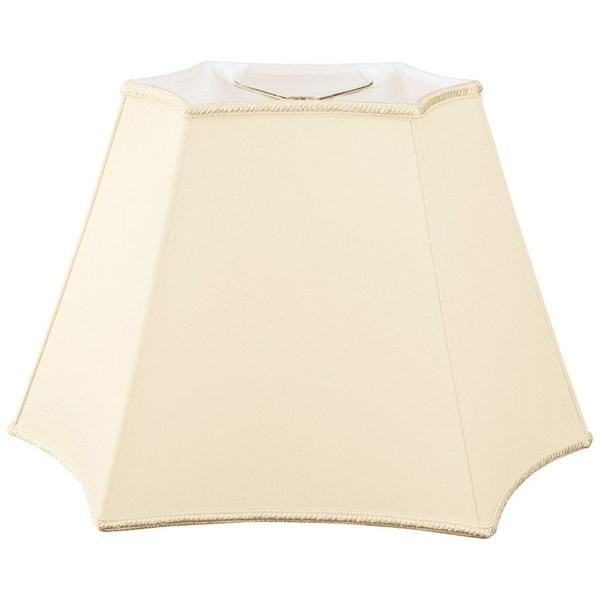 Royal Designs Rectangle Curved Inverted Corner Designer Lamp Shade, Beige, (10 x 6) x (12 x 18) x 12