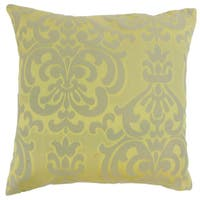 Sarane Damask 22-inch Down Feather Throw Pillow Lichen