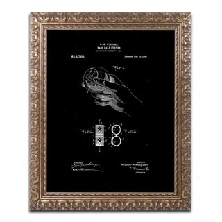 Claire Doherty 'Baseball Curver Patent 1909 Black' Ornate Framed Art - Black/White